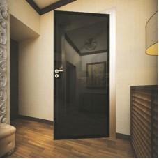 Дверь с полупрозрачным стеклом и чёрной окантовкой (Милано)